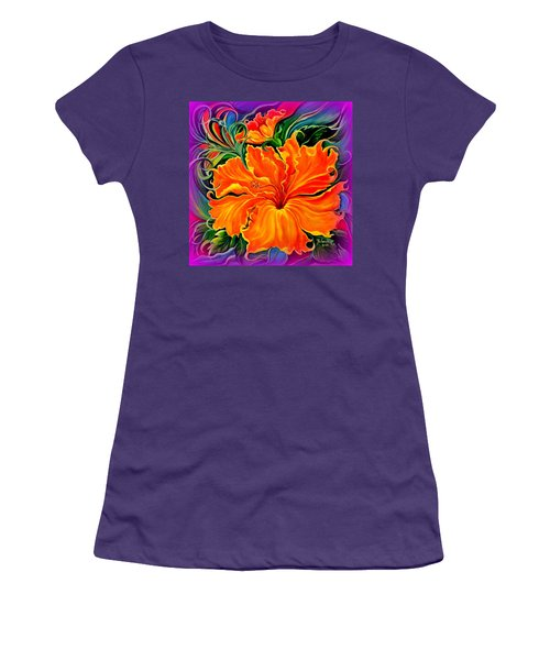 Women's T-Shirt (Junior Cut) featuring the painting Wild Purple Hibiscus by Yolanda Rodriguez