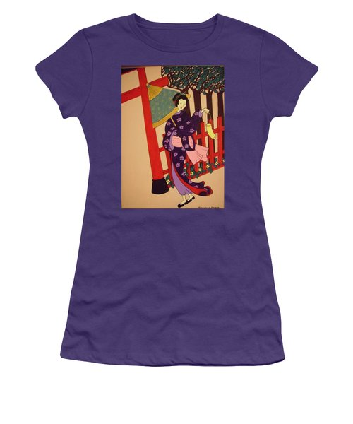 Women's T-Shirt (Junior Cut) featuring the painting Windy Day by Stephanie Moore