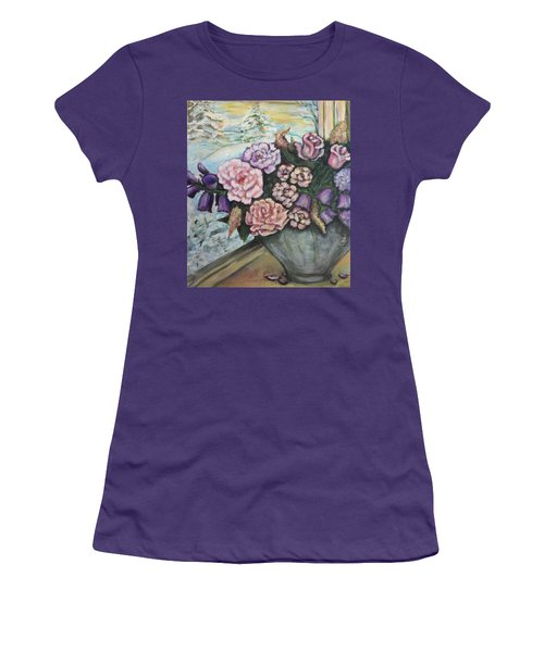 Women's T-Shirt (Junior Cut) featuring the painting Winter Flowers by Rae Chichilnitsky