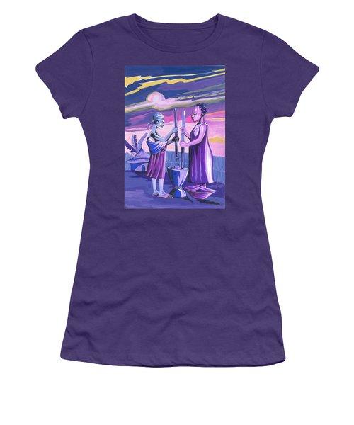 Women Pounding Cassava Women's T-Shirt (Junior Cut) by Emmanuel Baliyanga