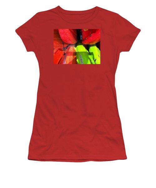 Kayaks Women's T-Shirt (Junior Cut) by Michelle Meenawong