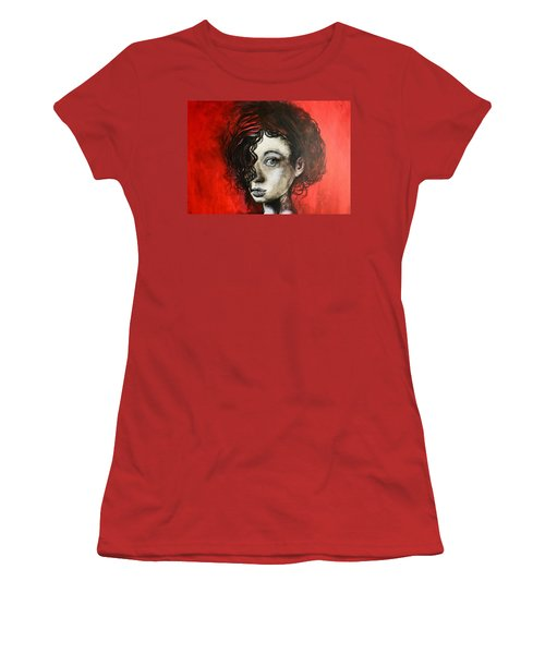 Women's T-Shirt (Junior Cut) featuring the painting Black Portrait 23 by Sandro Ramani
