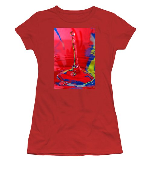 Women's T-Shirt (Junior Cut) featuring the photograph Colorful Water Drop by Peter Lakomy