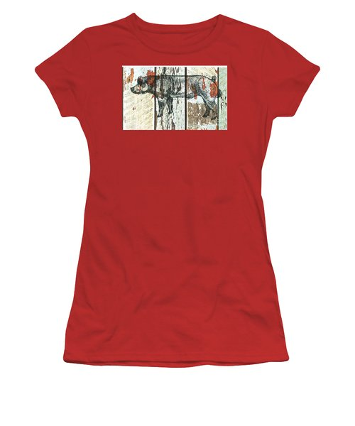 Women's T-Shirt (Junior Cut) featuring the drawing Danish Duroc Boar by Larry Campbell