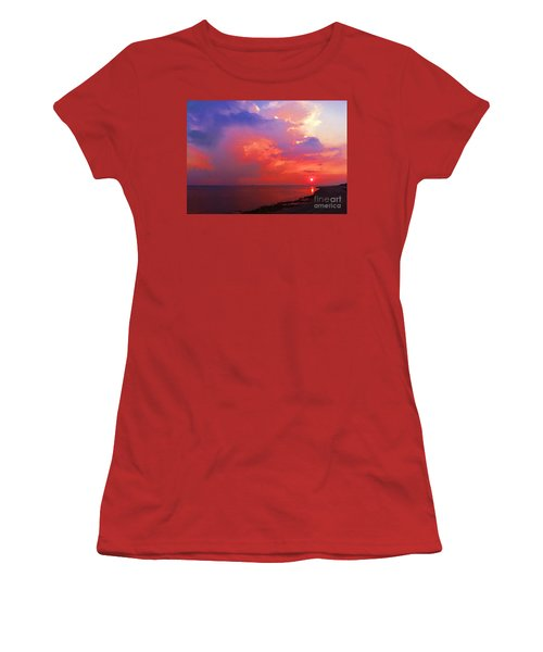 Women's T-Shirt (Junior Cut) featuring the photograph Fire In The Sky by Holly Martinson