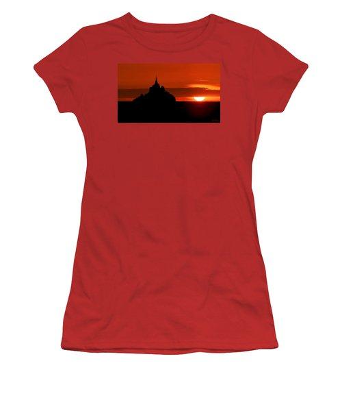 Mont St Michel Sunset Women's T-Shirt (Junior Cut) by Joe Bonita