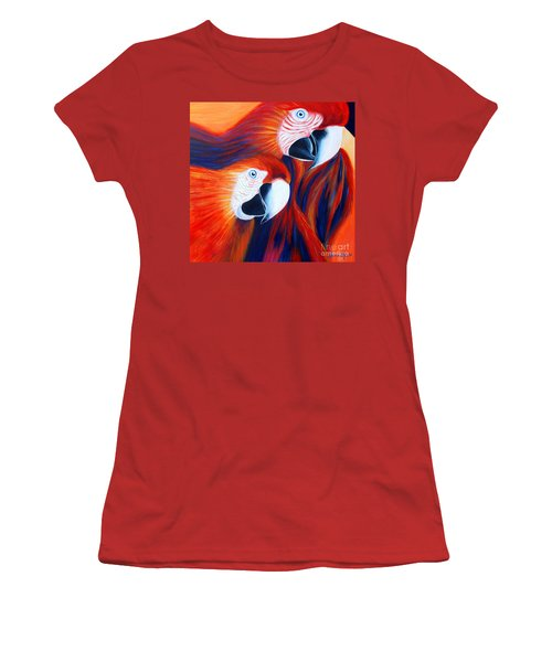 Women's T-Shirt (Junior Cut) featuring the painting Two Parrots. Inspirations Collection. by Oksana Semenchenko