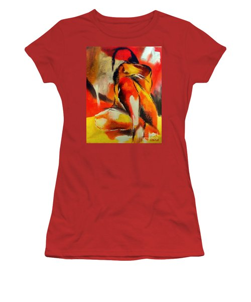 Women's T-Shirt (Junior Cut) featuring the painting Waiting by Dragica  Micki Fortuna