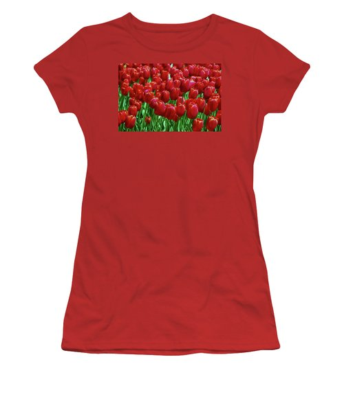 Women's T-Shirt (Junior Cut) featuring the photograph Red Tulips  by Allen Beatty