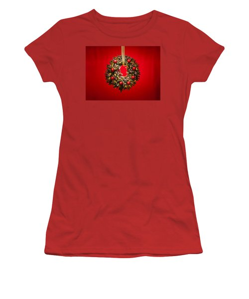 Advent Wreath Over Red Background Women's T-Shirt (Junior Cut) by Ulrich Schade