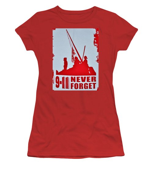 9-11 Never Forget Poster  Women's T-Shirt (Athletic Fit)