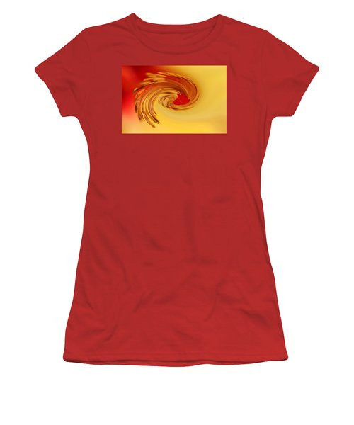 Abstract Swirl Hibiscus Flower Women's T-Shirt (Junior Cut) by Debbie Oppermann