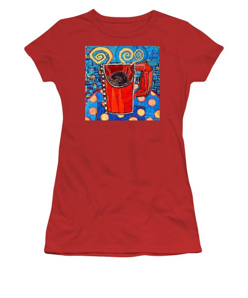 Abstract Hot Coffee In Red Mug Women's T-Shirt (Junior Cut) by Ana Maria Edulescu