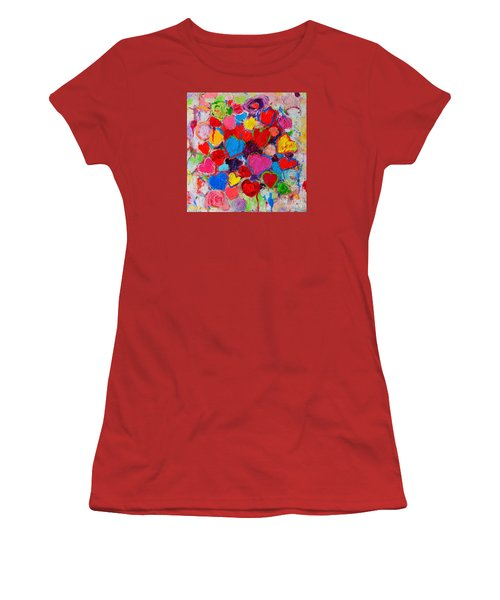 Abstract Love Bouquet Of Colorful Hearts And Flowers Women's T-Shirt (Athletic Fit)