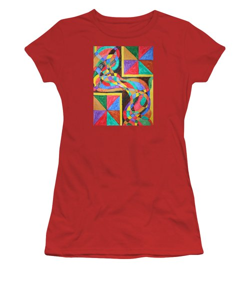 Women's T-Shirt (Junior Cut) featuring the painting Alien By Windows by Stormm Bradshaw