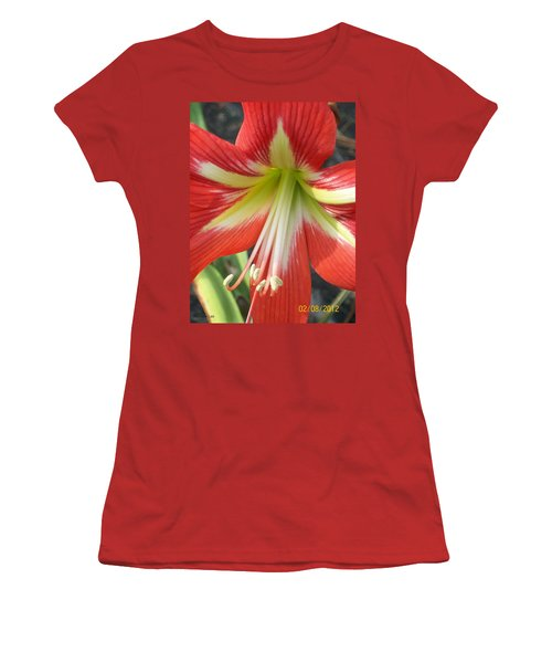 Women's T-Shirt (Junior Cut) featuring the photograph Amarylis Full Bloom by Belinda Lee
