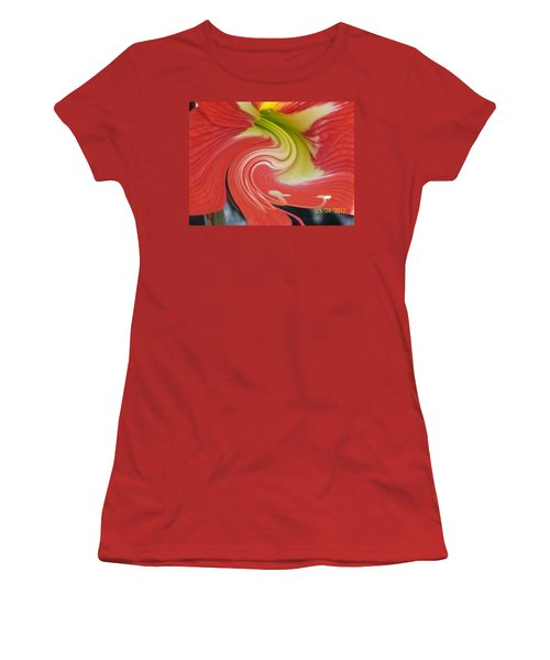 Women's T-Shirt (Junior Cut) featuring the photograph Amarylis Twirl by Belinda Lee