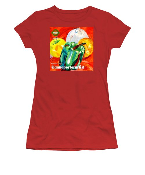 Apple, Onions And Pepper A Digital Edit Women's T-Shirt (Athletic Fit)