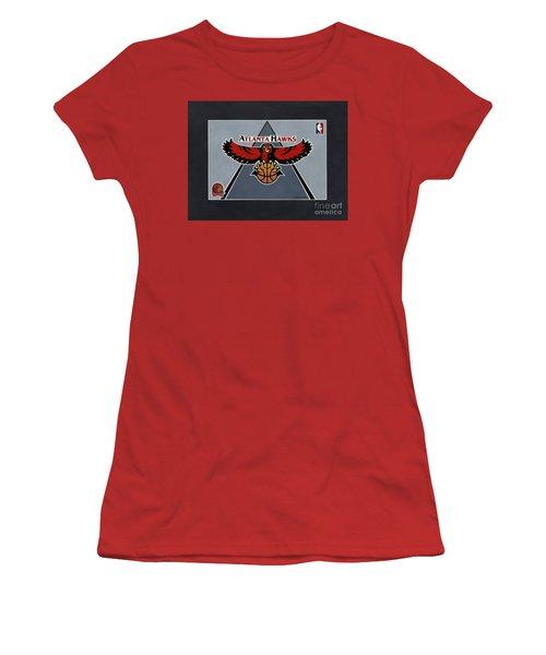 Atlanta Hawks T-shirt Women's T-Shirt (Junior Cut) by Herb Strobino