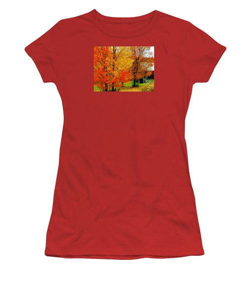 Women's T-Shirt (Junior Cut) featuring the photograph Autumn Trees By Barn by Rodney Lee Williams