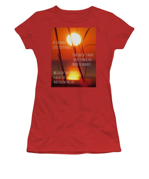 Women's T-Shirt (Junior Cut) featuring the photograph Beach Quote by Nikki McInnes