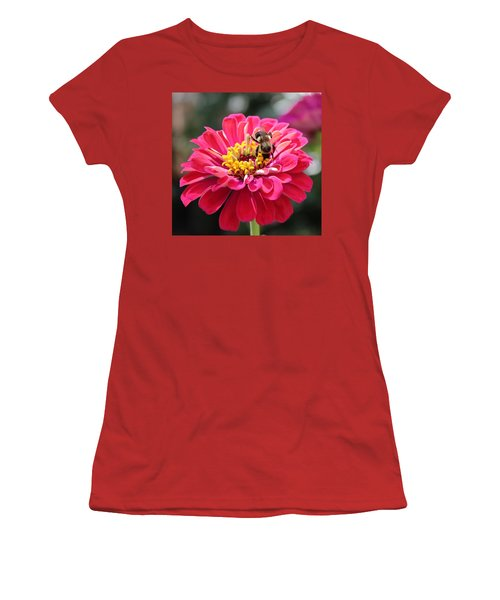 Women's T-Shirt (Junior Cut) featuring the photograph Bee On Pink Flower by Cynthia Guinn