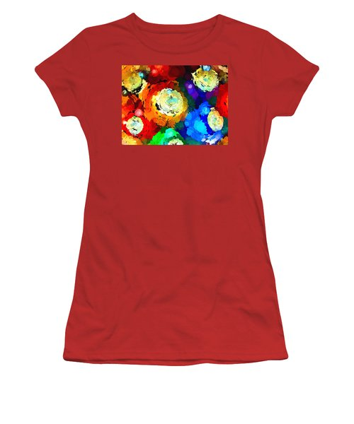 Billiard Balls Abstract Digital Art Women's T-Shirt (Athletic Fit)