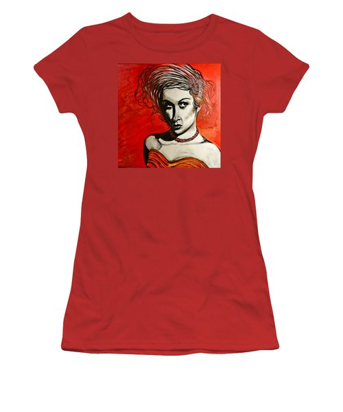 Women's T-Shirt (Junior Cut) featuring the painting Black Portrait 20 by Sandro Ramani
