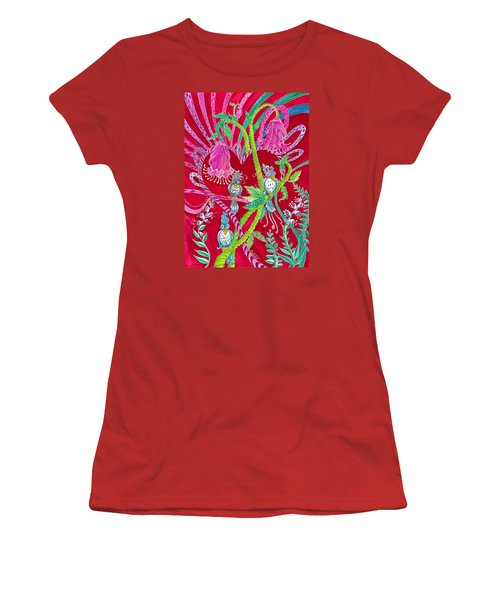Women's T-Shirt (Junior Cut) featuring the painting Blue Bird Trio And Heart by Adria Trail