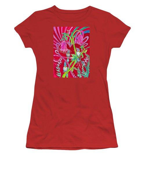 Blue Bird Trio And Heart Women's T-Shirt (Junior Cut) by Adria Trail