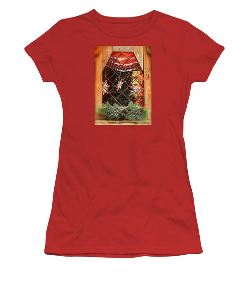 Cabin Christmas Window Women's T-Shirt (Junior Cut) by Nadalyn Larsen