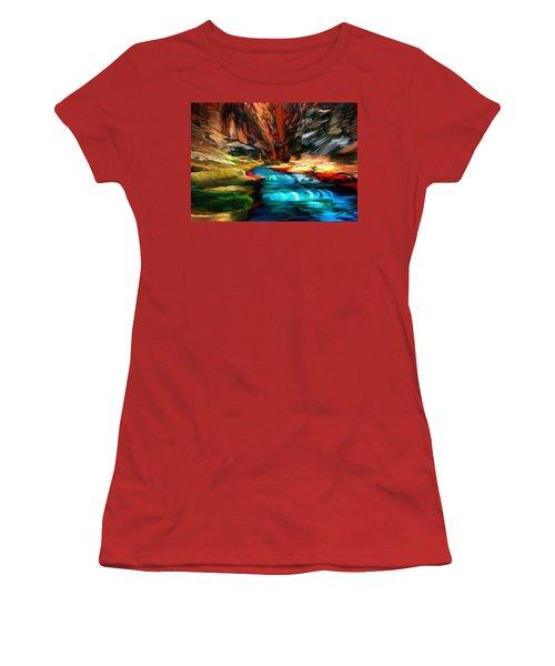 Canyon Waterfall Impressions Women's T-Shirt (Junior Cut) by Bob and Nadine Johnston