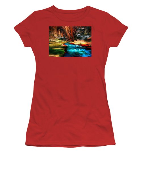 Canyon Waterfall Impressions Women's T-Shirt (Athletic Fit)