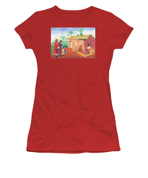 Women's T-Shirt (Junior Cut) featuring the painting Celebration Of The Nativity In Cameroon by Emmanuel Baliyanga