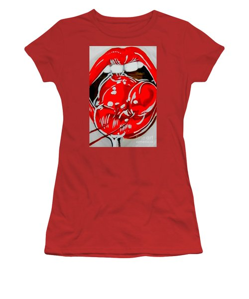 Women's T-Shirt (Junior Cut) featuring the painting Cherry Lips by Marisela Mungia