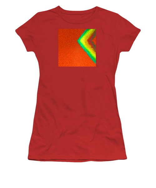 Women's T-Shirt (Junior Cut) featuring the painting Chevron Rainbow Orange C2014 by Paul Ashby