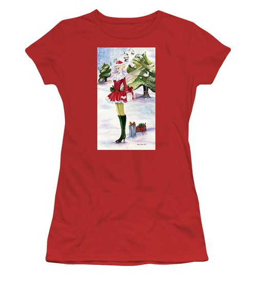 Women's T-Shirt (Junior Cut) featuring the painting Christmas Fantasy  by Nadine Dennis