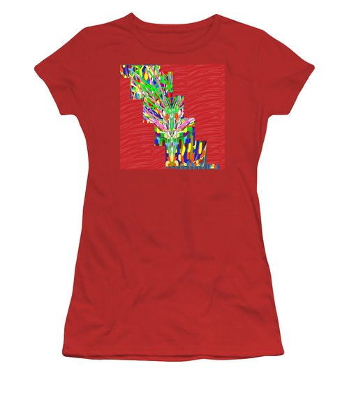 Women's T-Shirt (Junior Cut) featuring the photograph Colorful Tree Of Life Abstract Red Sparkle Base by Navin Joshi