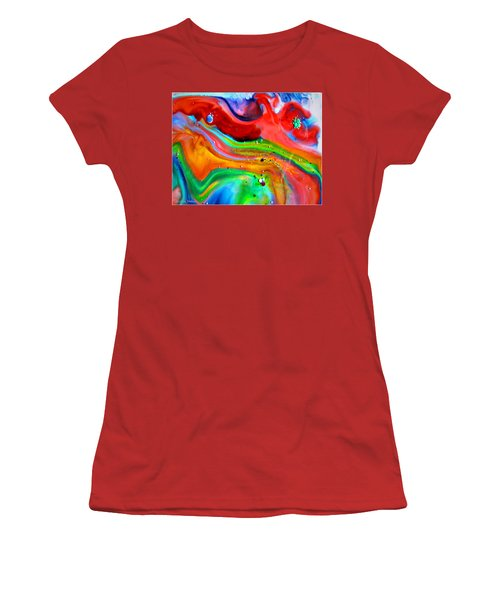 Women's T-Shirt (Junior Cut) featuring the painting Cosmic Lights by Joyce Dickens