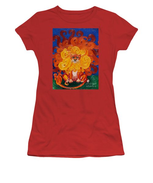 Women's T-Shirt (Junior Cut) featuring the painting Cosmic Lion by Cassandra Buckley