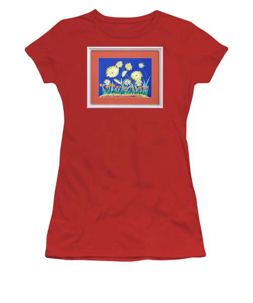 Women's T-Shirt (Junior Cut) featuring the painting Daisies by Ron Davidson