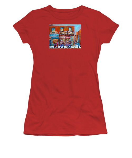 Decarie Hot Dog Restaurant Ville St. Laurent Montreal  Women's T-Shirt (Junior Cut) by Carole Spandau