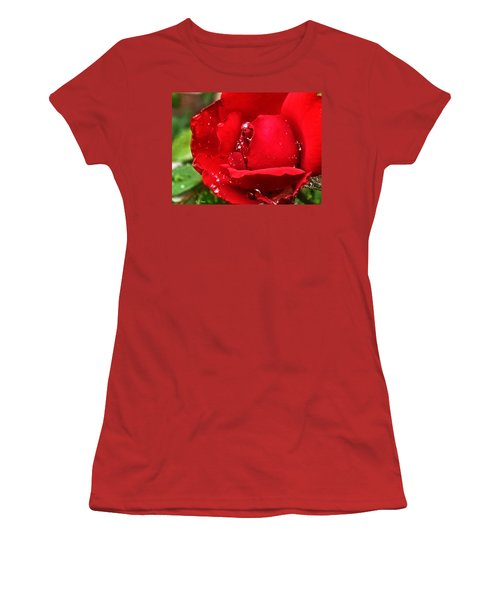 Dew Drops On Red Women's T-Shirt (Athletic Fit)