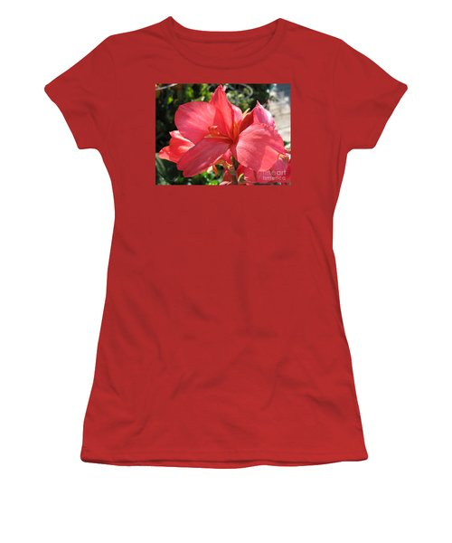Women's T-Shirt (Junior Cut) featuring the photograph Dwarf Canna Lily Named Shining Pink by J McCombie