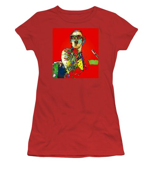 Elton In Red Women's T-Shirt (Junior Cut) by John Farr