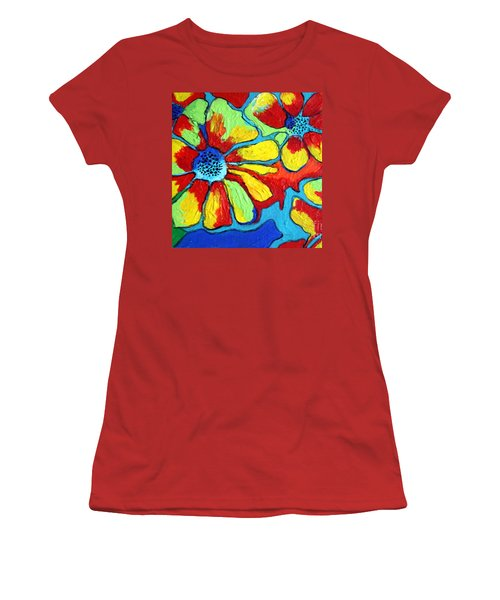 Women's T-Shirt (Junior Cut) featuring the painting Floating Flowers by Alison Caltrider