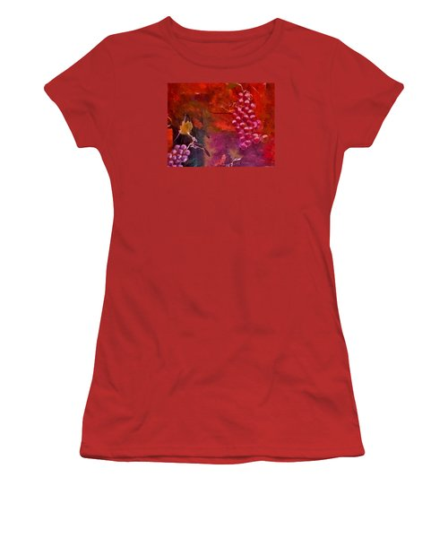 Women's T-Shirt (Junior Cut) featuring the painting Flying Grapes by Lisa Kaiser