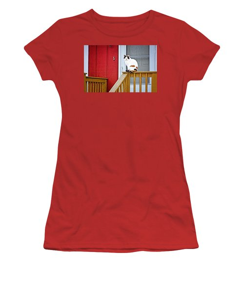 Front Porch Cat Women's T-Shirt (Athletic Fit)