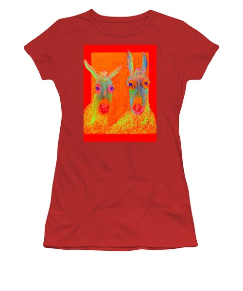 Funky Donkeys Art Prints Women's T-Shirt (Athletic Fit)