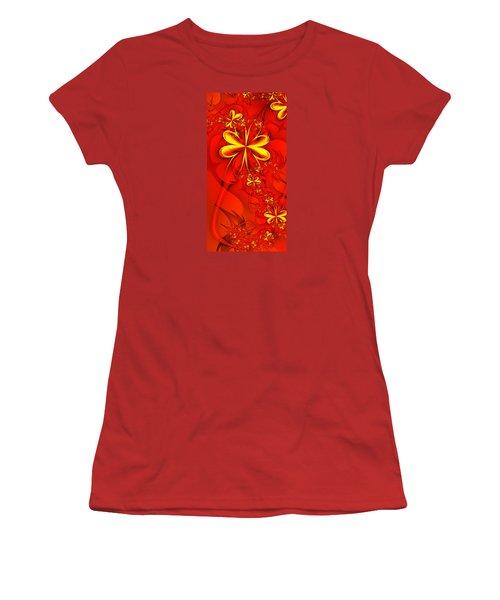 Gold Flowers Women's T-Shirt (Junior Cut) by Lena Auxier